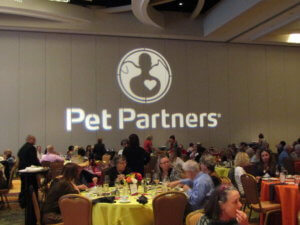 Pet Partners logo at 2019 conference dinner