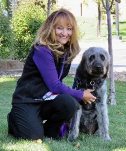Janice Perry and her Labradoodle Halle Berry