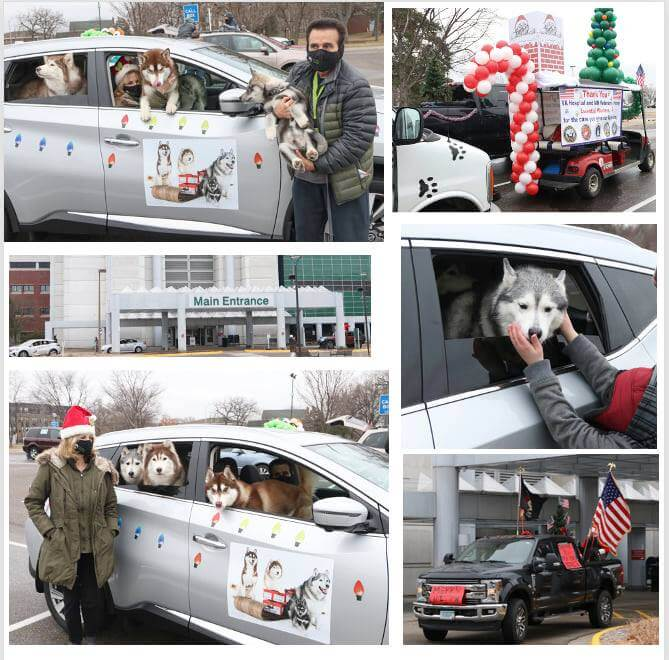 A collage of vehicles with dogs and holiday decorations holding a parade