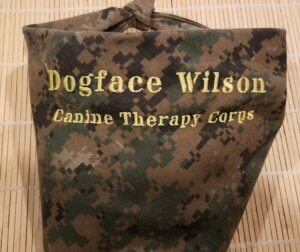 """A digital camo dog scarf embroidered with the words """"Dogface Wilson Canine Therapy Corps"""""""