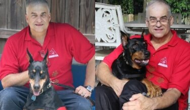 Compiled image of two photos of a man with a different Doberman pinscher in each photo